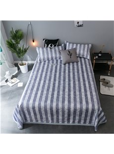 Blue and White Stripes Polyester Cooling 3-Piece Summer Sleeping Mat Sets