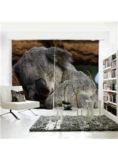 Lovely Sleeping Koala Pattern 3D Animal Painted Polyester Curtain