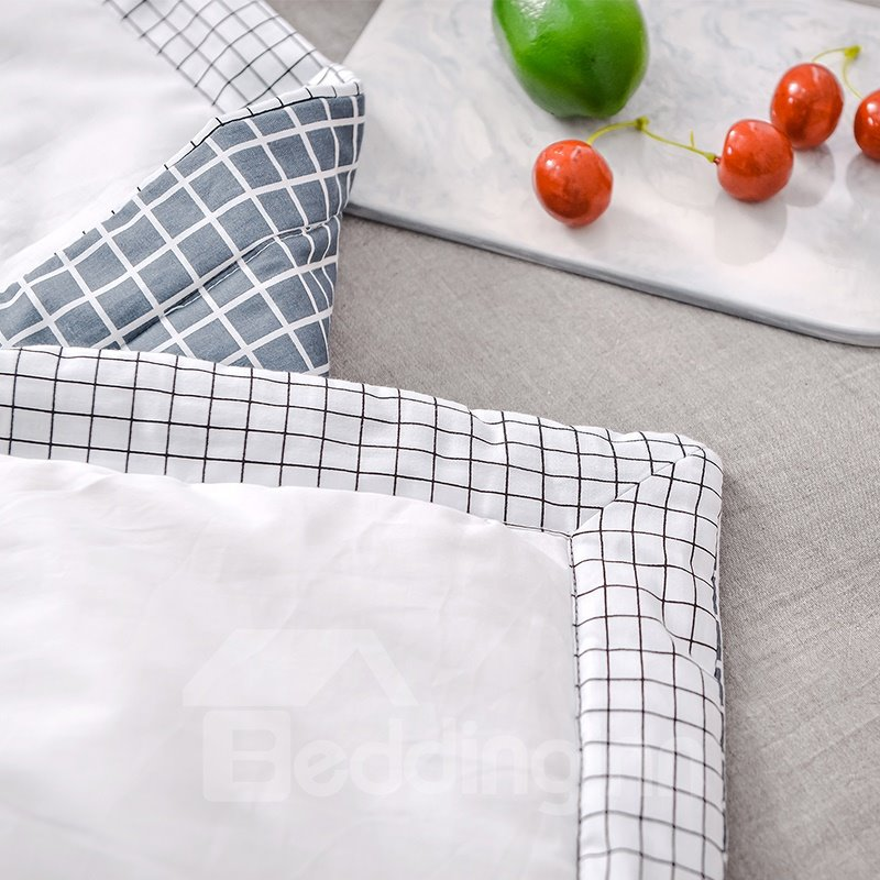 Plaid and Stripe White Simple Style Cotton Summer Quilt