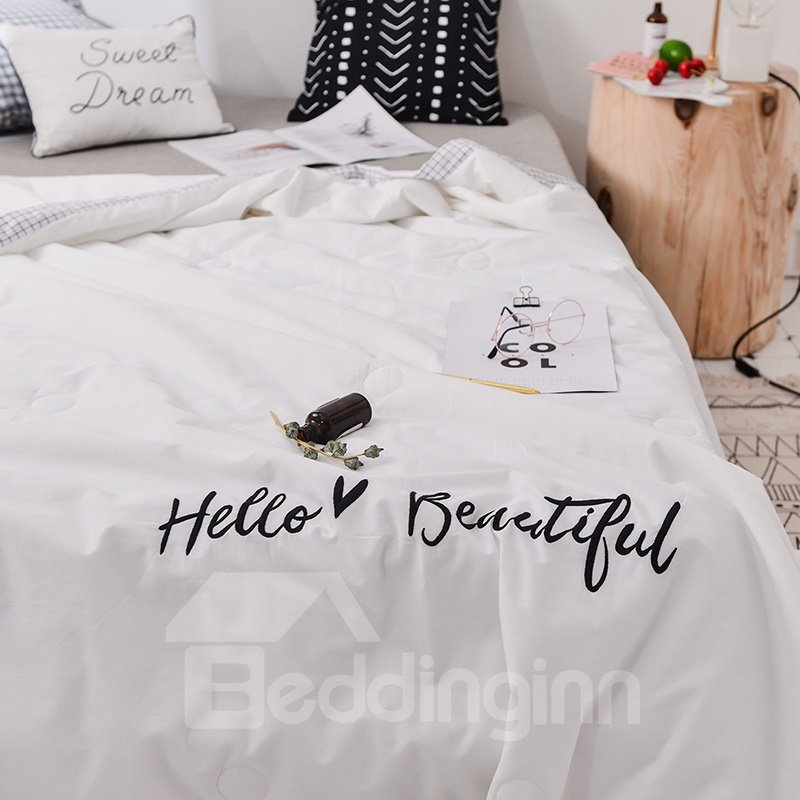 Plain White Beautiful Letter Printing Cotton Summer Air Conditioner Quilt