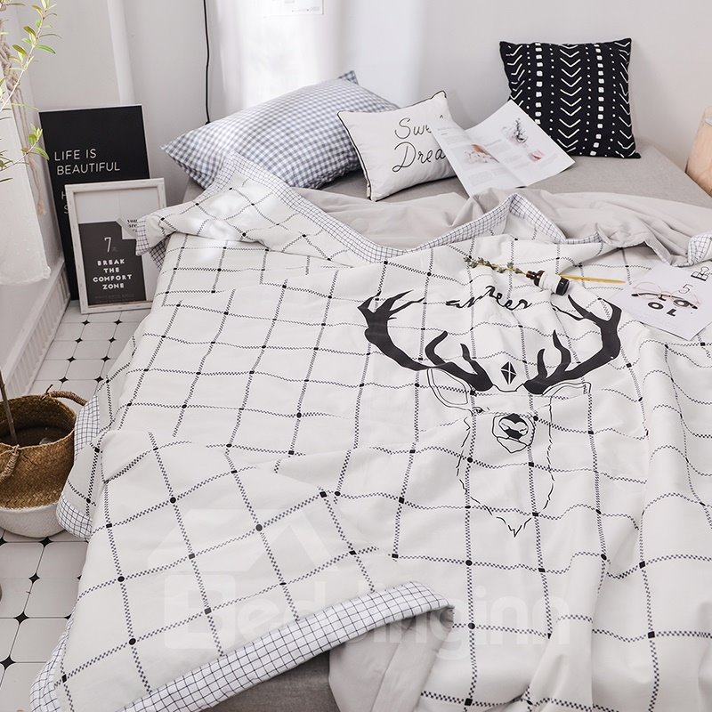 White Plaid Deer Printing Simple Cotton Summer Air Conditioner Quilt