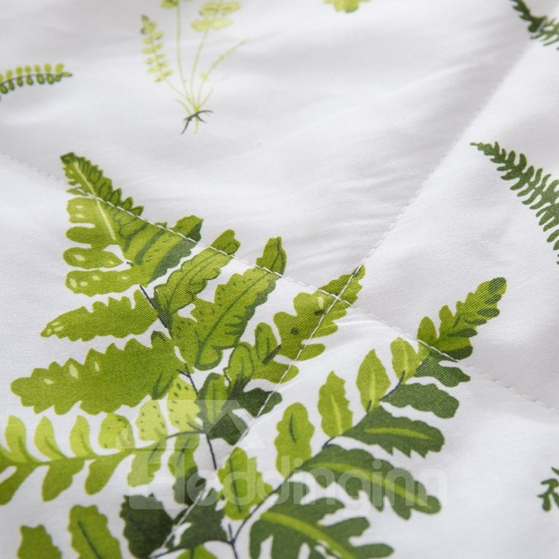 Green Plants Pattern Simple Rural Style Cotton Air Conditioner Quilt
