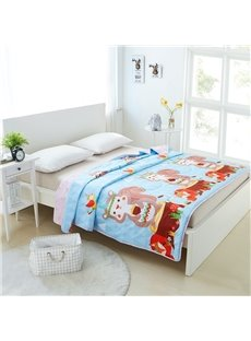 Lovely Squirrel Pattern Cartoon Style Cotton Summer Quilt