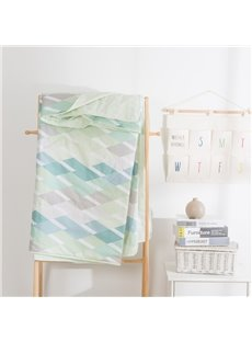 Stripe Pattern Light Green Simple Rural Style Summer Quilt