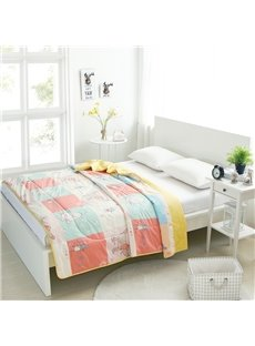 Cartoon Lovely Cat And Mouse Pattern Cotton Summer Quilt