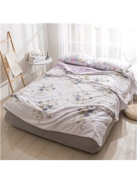 Gardenia Pattern Light Pink Simple And Elegant Style Cotton Summer Quilt