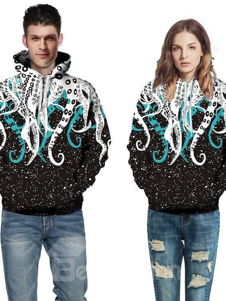 Long Sleeve Octopus Tentacles Pattern 3D Painted Hoodie