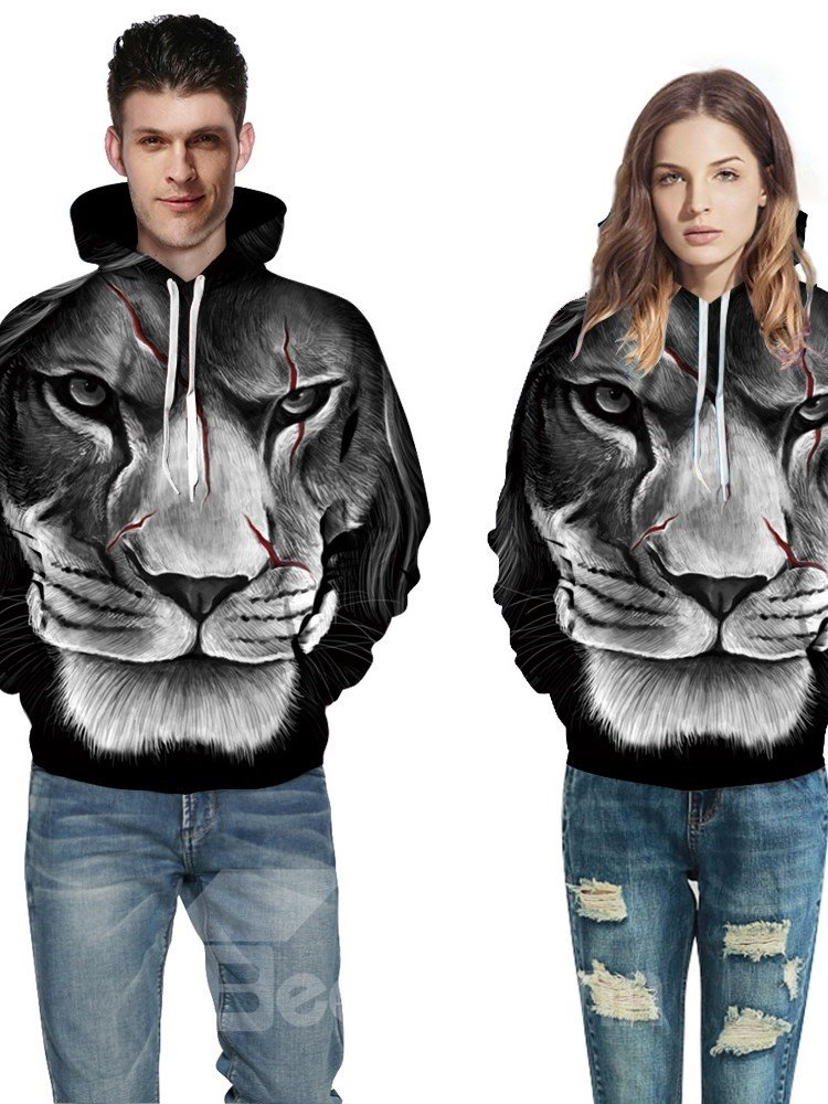Fashion Long Sleeve Scar Lion Face Pattern 3D Painted Hoodie