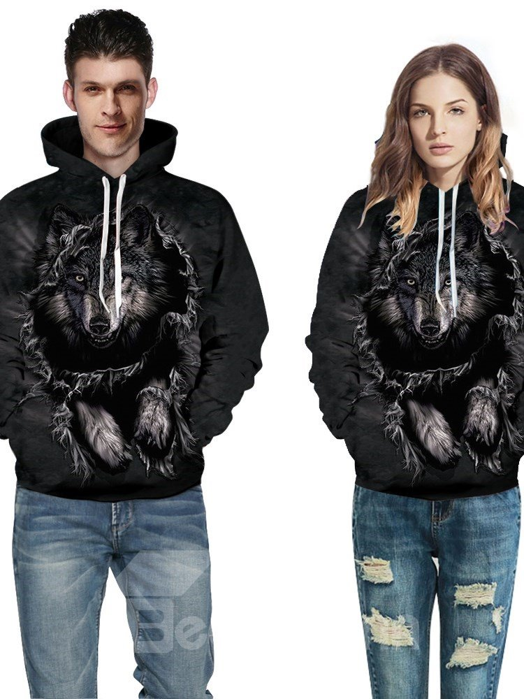 Long Sleeve Lonely Wolf Pattern 3D Painted Hoodie