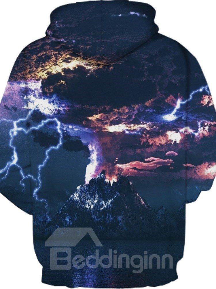 Unisex Pullover Thunderstorm Printed Kangaroo Pocket 3D Painted Hoodie