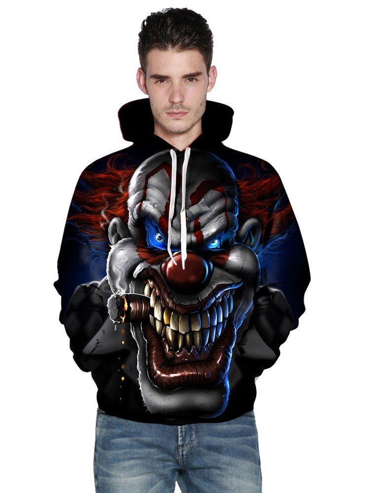 Long Sleeve Evil Clown Pattern 3D Painted Hoodie