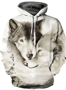 Special Long Sleeve A Pair Wolves Pattern 3D Painted Hoodie