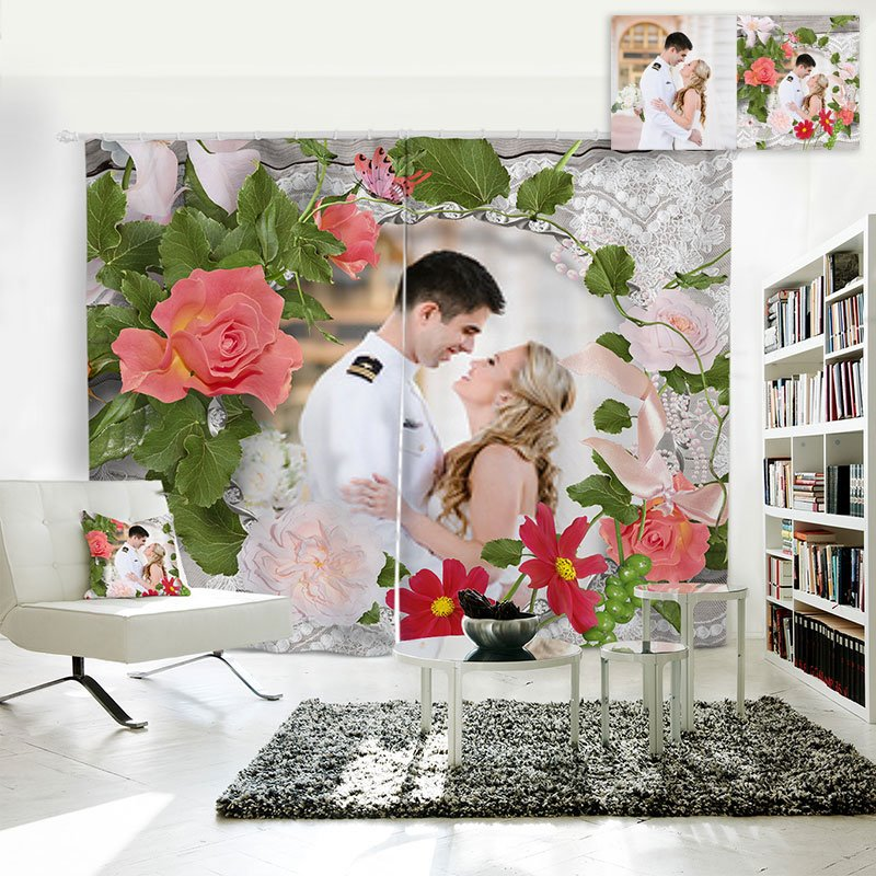 3D Creative Polyester Personal Picture Customization Curtain