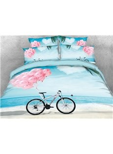 3D Pink Balloon and Bike on the Beach Cotton Printed 4-Piece Bedding Sets/Duvet Covers
