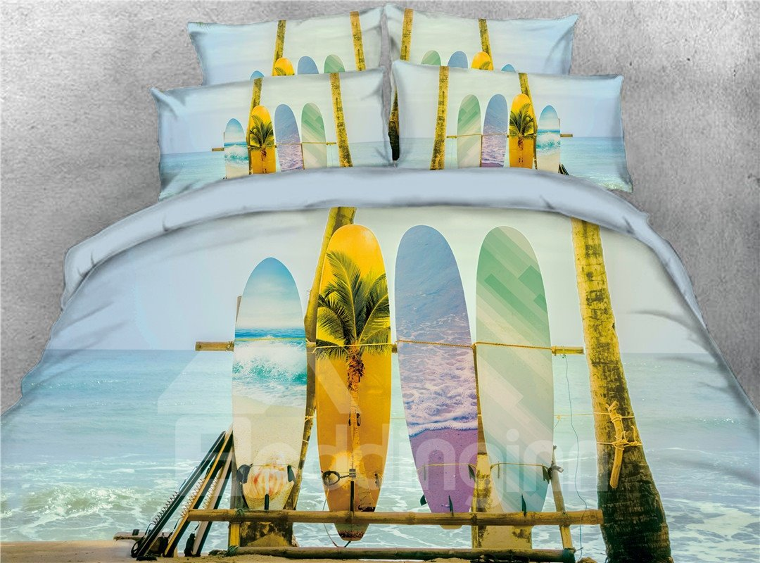 Surfing Skateboard Beach Pattern Cotton Printed 4-Piece 3D Bedding Sets/Duvet Covers