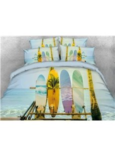 3D Surfing Skateboard Beach Pattern Cotton Printed 4-Piece Bedding Sets/Duvet Covers