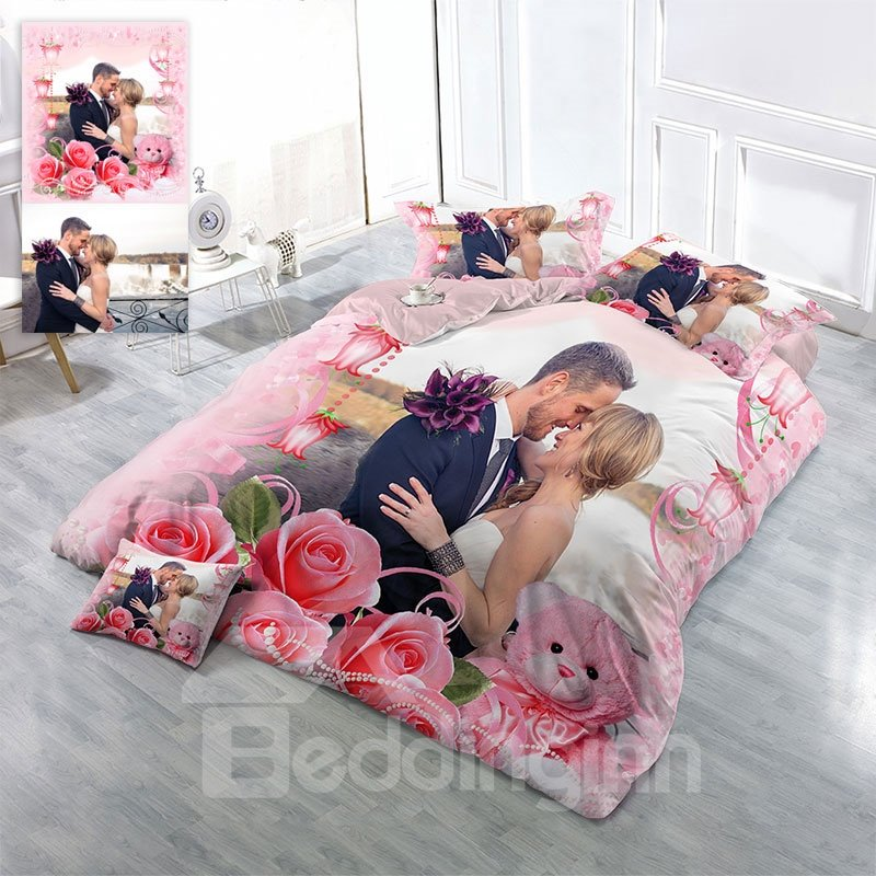 Personalized Picture 3D Printing Cotton 4-Piece Bedding Sets/Duvet Covers