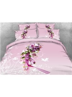 3D A Bunch of Flowers Pink Printed Cotton 4-Piece Bedding Sets/Duvet Covers