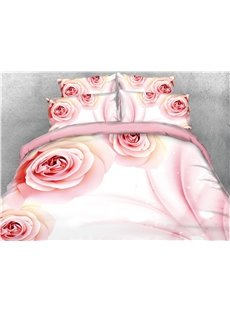 Onlwe 3D Pink Rose Printed Cotton 4-Piece Bedding Sets/Duvet Covers