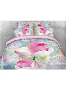3D Blooming Lotus Printed Cotton 4-Piece Bedding Sets/Duvet Covers