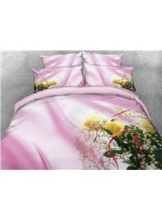 3D Yellow Flower Pink Ribbon Printed Cotton 4-Piece Bedding Sets/Duvet Covers