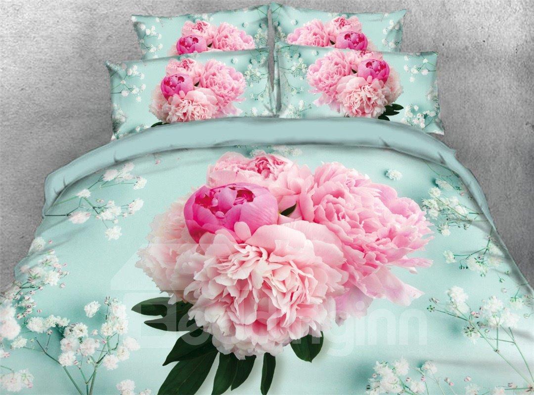 A Bouquet Of Blush Pink Flowers Printed Cotton 4-Piece 3D