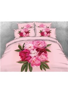 Onlwe Peonies 3D Pink Printed Cotton 4-Piece Bedding Sets/Duvet Covers