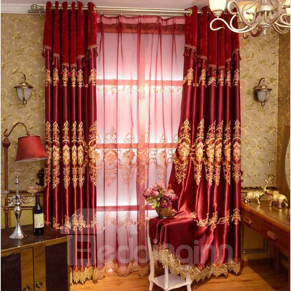 Beddinginn Red Classical Lucky Pattern Polyester Curtain Quality