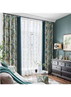 Green Plant Pattern Size Customization Room Darkening Curtain