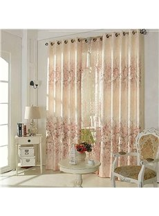 Beige Pattern European Simple Style Room Darkening Curtain