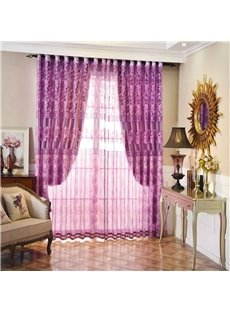 Purple Floral Pattern Polyester Material Shading Sheer Beads Curtain