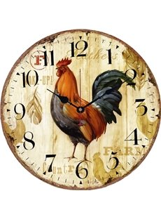 Cock Pattern Creative Realistic Style Wood Material Noiseless Wall Clock