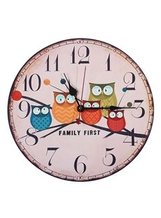 Owl Pattern Creative Cartoon Style Wood Material Noiseless Wall Clock
