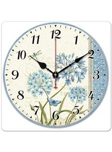 Dandelion Pattern Retro Style Noiseless Wood Material Wall Clock