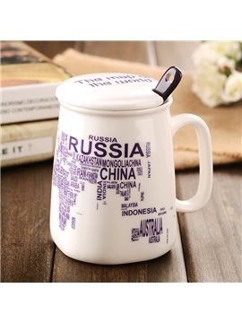 Map Letter Ceramic Modern Style All Ages Tea Cup