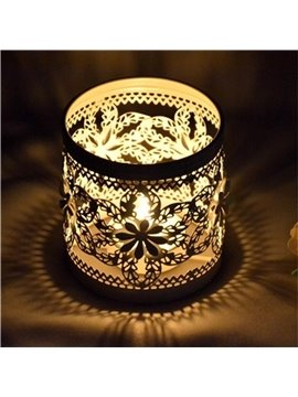 Classic Style Iron Cylinder Floral Decoration Candles Holder