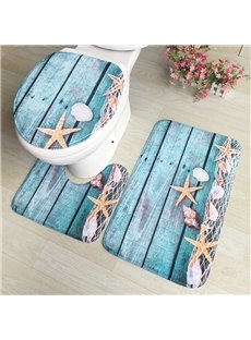 Blue Starfish Pattern 3-Piece Water-Absorption Anti-slid Toilet Seat Covers