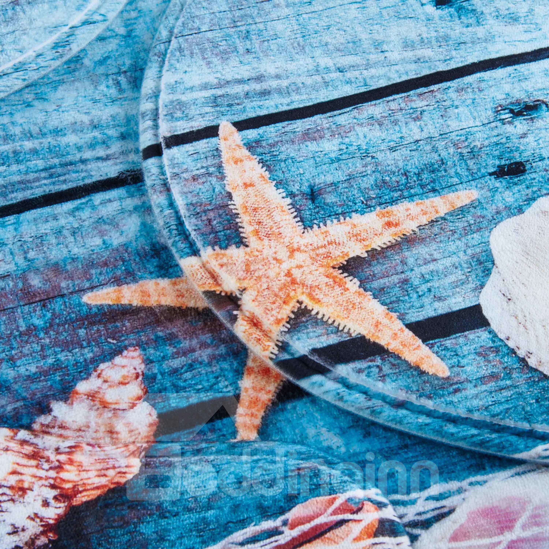 Blue Starfish Pattern 3-Piece Water-Absorption Anti-slid Toilet Seat Covers