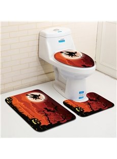 Halloween Witch and Broom Pattern 3-Piece Water-Absorption Anti-slid Toilet Seat Covers