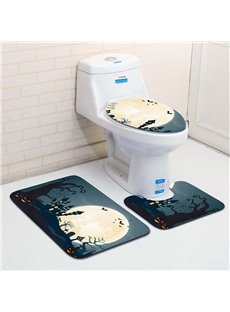 Halloween Large Moon Pattern 3-Piece Water-Absorption Anti-slid Toilet Seat Covers