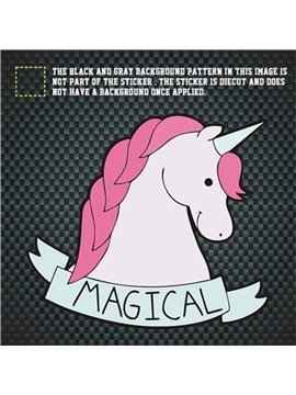 Pink And White Unicorn Pattern Waterproof Scratch Proof Car Sticker