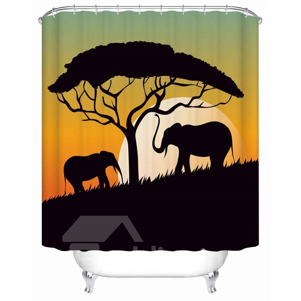 Black Elephants&Tree Pattern Anti-Bacterial Eco-friendly Shower Curtain