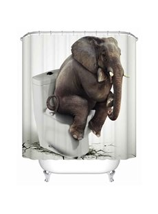 Funny Elephant&Toilet Pattern Waterproof Anti-Bacterial Bathroom Shower Curtain