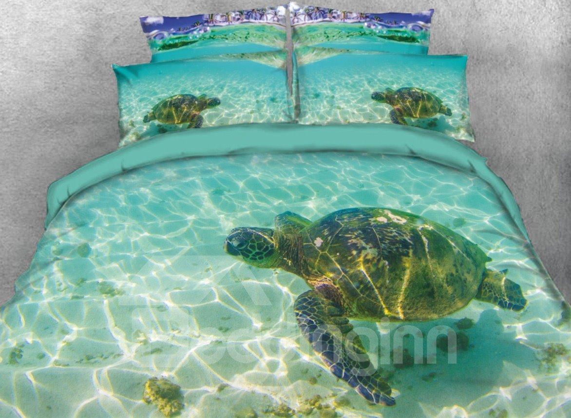 3d Sea Turtle Blue Ocean Tencel Cotton Digital Printed Pic