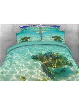Vivilinen_3D_Turtle_in_the_Blue_Limpid_Ocean_Printed_5Piece_Comforter_Sets