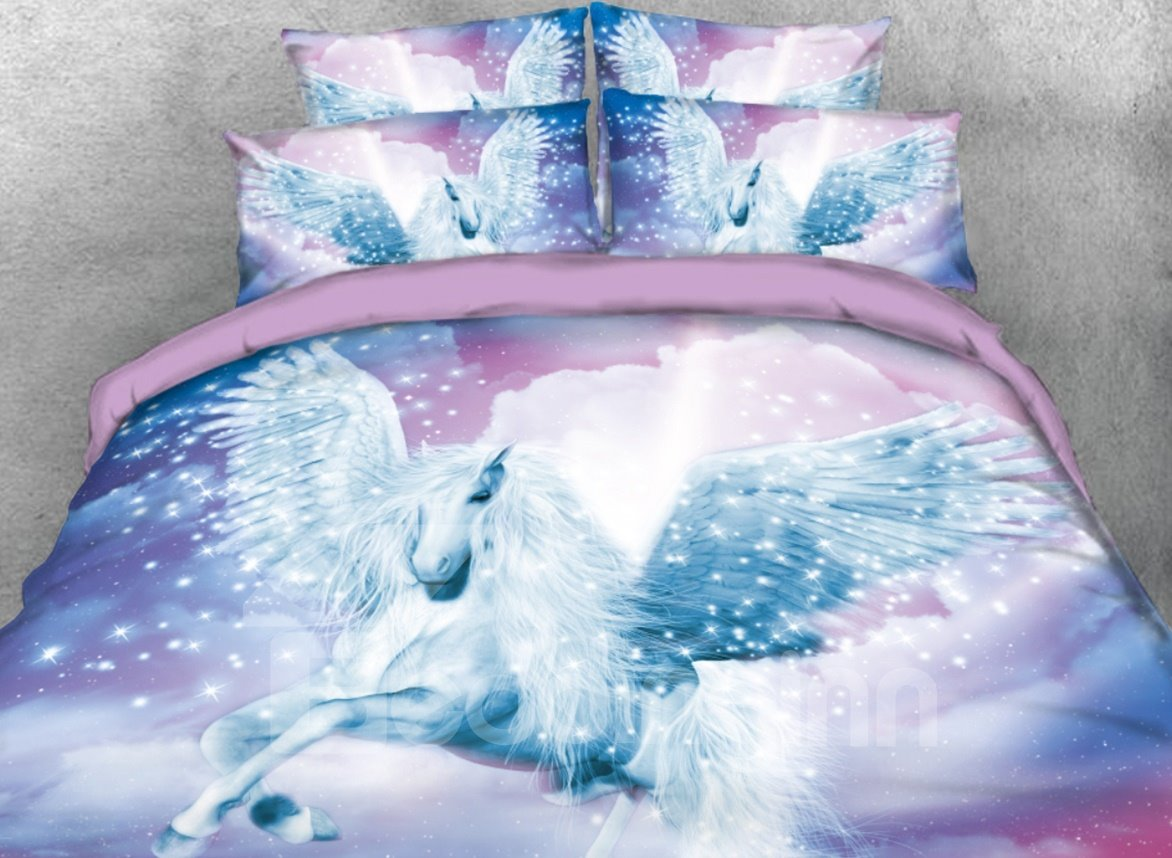 Onlwe 3D White Unicorn with Wings Reactive Printed 5-Piece Comforter Sets