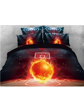 Onlwe 3D Basketball with Fire on the Court Printed 5-piece Comforter Sets