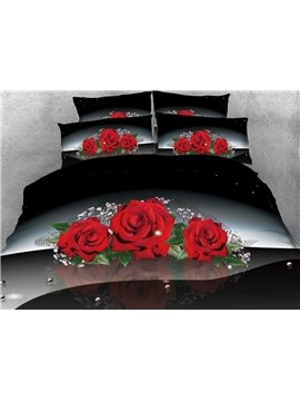 Onlwe 3D Red Rose with Green Leaves Printed 5-piece Comforter Sets