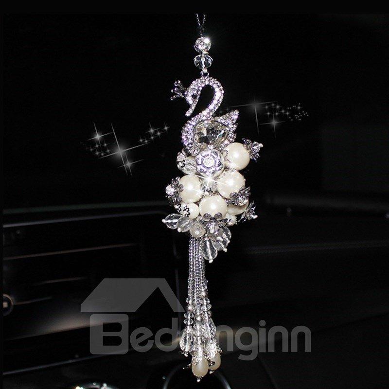 Set Auger Swan Shape Crystal Car Decoration Accessories