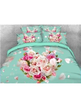 Onlwe 3D Heart-shaped Rose Printed 5-Piece Comforter Sets